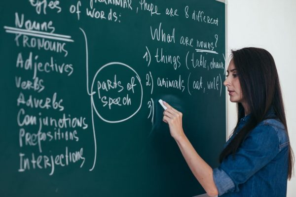 female teacher writing on a blackboard using a chalk