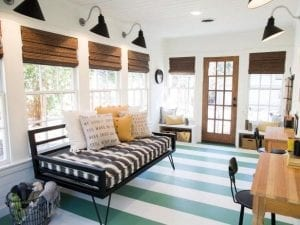 a stylish suroom with blue striped flooring