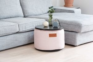 pastel colored ottomans in a livingroom
