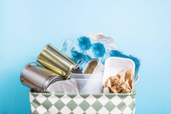 Recycled food containers placed in a basket